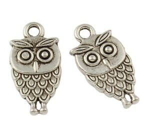 12 x Owl Charms Antique SILVER Tone Double Sided 18x9mm Crafts Findings Hole 2mm