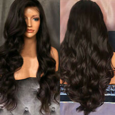 Womens Lady Long Hair Free Part Fluffy Body Wave Lace Front Synthetic Full Wig