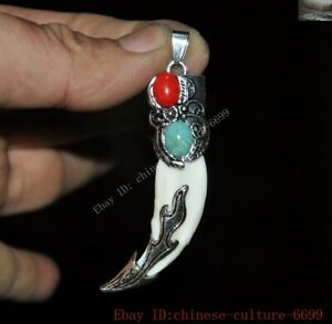 Old Tibetan Silver inlay Wild boar teeth Coral turquoise Exorcism amulet Pendant