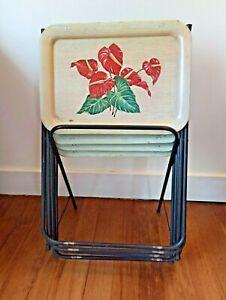 Vintage Metal MCM Dinner TV Trays Stand Set of 4 tropical flowers Anthurium