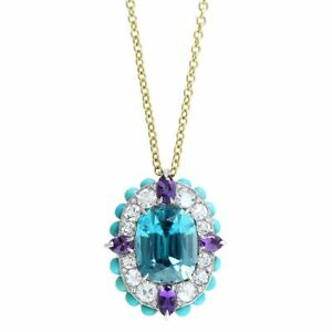 "Aquamarine,Amethyst,Turquoise & Diamond 18K Yellow Gold Over Pendant 18""Necklace"