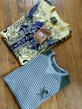 MEN'S SHIRT SIZE L (LOT OF 2) RAW BLUE YELLOW GRAPHIC TEE & EXPRESS THERMAL