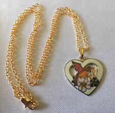 Cloisonné Enamel Tan Heart Pendant Necklace Vtg 18K Gold Fill Hummingbird Flower