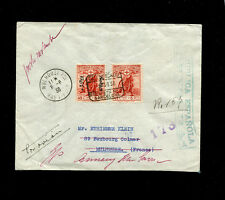 Spain Spanish Civil War 1938 Registered Airmail to France with Red Cross stamps