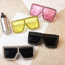 Designer Sunglasses Women Rhinestone Oversized Square Sparkling Crystal Shades