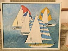 Sail Boats Original Oil On Canvas Seascape Painting Cubist Framed Races Signed
