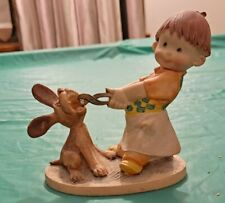 Girl Pulling Dogs Tooth Figurine Italy D4238 Plastic Compound