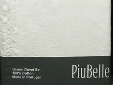 PIUBELLE PIU BELLE WHITE DOUBLE ROW FRINGE TRIM 3 Pc. Duvet Set Queen S Cotton