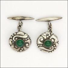 Art Nouveau Skonvirke Silver and Chrysoprase Agate Cufflinks - PERLEN