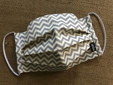Chevron Gray and Ivory Pleated Fabric Face Mask w Slot for Filter and Nose Wire