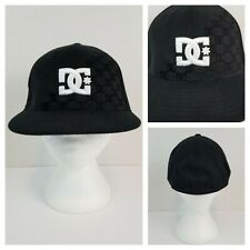 DC 210 Fitted Flexfit Ball Cap Size 6 7/8 to 7 1/4  Black White Embroidered Logo