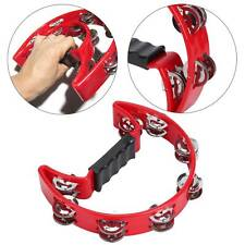 More details for uk in box red or red half moon percussion tambourine shaker instrument toy