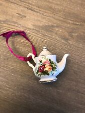 Vintage Royal Albert Old Country Roses Tea Pot Christmas Ornament New
