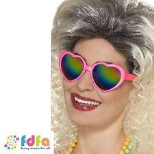 PINK HEART SHAPED SPECS GLASSES RAINBOW LENSES Ladies Fancy Dress Accessory