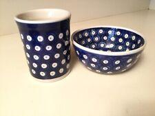 Boleslawiec Polish Pottery True Blue Small Bowl & Tumbler Brand New