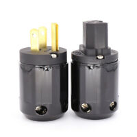 Hifi Power Plug High Quality Gold-plated One Pair US Power Connector + IEC