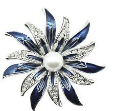 BROOCH Blue Enamel  Rhinestone Pearl Flower Brooch Pin Mothers Day Gift for Mum