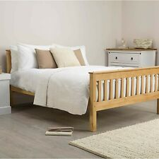 Wooden Somerset Natural Double Bed frame With IKEA Hovag Double Mattress