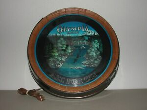 VINTAGE 80'S OLYMPIA BEER LIGHTED WATERFALL SIGN MOTION FOR PARTS OR REPAIR