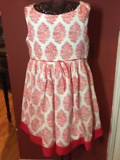 ZARA Girls Sz. 4-5 110cm Woven Coral And White easter To Summer Dress