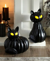 Halloween Lighted Pumpkin Black Cat Statues Sit Stand or Set Porch Table Decor