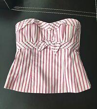 Nanette Lepore Pink White Stripes Corset Top Sz 2 XS Comic Con Mod Vintage PinUp