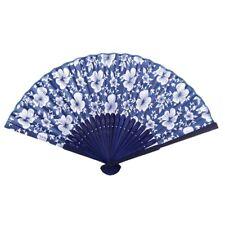 Morning Glory Print Bamboo Fabric Folding Hand Fan dark blue for Ladies U4I8 LK3