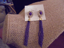 "LONG CRYSTAL/CHAIN DANGLE PURPLE PIERCED EARRINGS 3"" GOLD TONE"