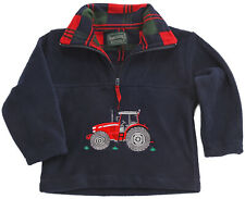 Childrens Red Tractor Navy Fleece Sweater Ages 2 - 10 Years Quarter Zip Boys