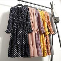 Fashion Women Floral Chiffon Long Sleeve Casual Party Vintage Boho Maxi Dress