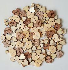 100 Mixed Wooden Hearts Natural Embellishments Wedding Craft Scrap Booking