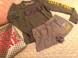 Victoria's Secret LSU Tigers Boxers & Sweatshirt Set, Very Rare, NWT Boxed Small