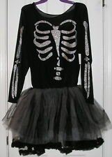 "Halloween Party Costume, Junior Layer Tulle Skirt ""Sassy Skeleton"" Size L 12/14"