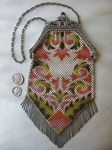 Antique Art Nouveau Silver Floral Frame Yellow Pink Enamel Chain Mail Purse