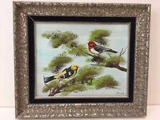 "Maria Lak 2 Birds Original Oil Painting on Board, Framed, Signed, 9 3/4"" x 8"""