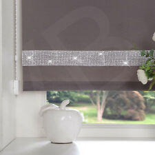 Easy to Fit Diamond Diamante Trim Straight Edge Roller Blinds Window Blind Silver Grey 120cm ( 47.2'' Inches )