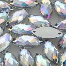 100 9x20mm SEW ON AB Clear OVAL Marquis ACRYL DIAMANTE Rhinestone Crystal Gem