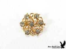 Victorian Circle Swirl Love Knot Scarf Lapel Collar Pin Brooch Crystal Stones