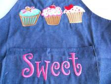 Children's Kids DENIM APRON Sweet Cupcakes Embroidered Kitchen Baking Blue Jean