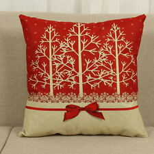 Cotton Linen Christmas Deer Pillow Case Cushion Cover Sofa Car Decor Xmas Party 3