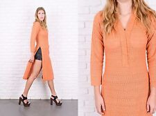 Vintage 70s Orange Crochet Knit Dress Cutout Ethnic Hippie Small S