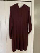Agnes & Dora Hooded Sweatshirt Dress Pockets Burgandy Wine XL Beautiful!