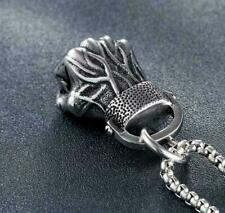 Men's Charm Vintage Silver Stainless Steel Fist Necklace Chain Pendant Jewelry