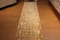 11 FT. Hall-runner Fine Quality handmade hand knotted floral design blue green