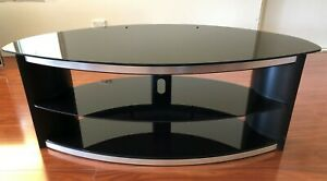 TV Stand - Black Glass with Chrome Trim - Stylish - Excellent Condition