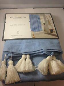 "New   Threshold Textured 72 x 72"" Cotton Tassel Boho Shower Curtain - Blue"