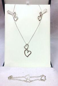 Sterling Silver 925 Full Hearts Set, Earrings, Chain & Pendant, Bracelet