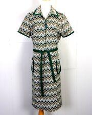 vtg 60s Lady Carol Green Chevron Op Art Mid Century Dress Geometric Zip Pull 13