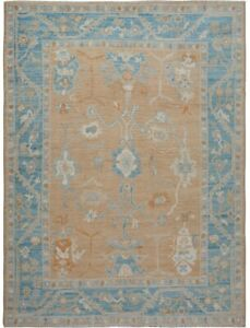 Vegetable Dye All-Over Golden Brown Oushak Turkish Area Rug Hand-Knotted 9'x10'