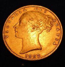 FULL SOVEREIGN 1862 VICTORIA YH WAPPEN AU50 Goldmünze LONDON 7,322g Feingold#3